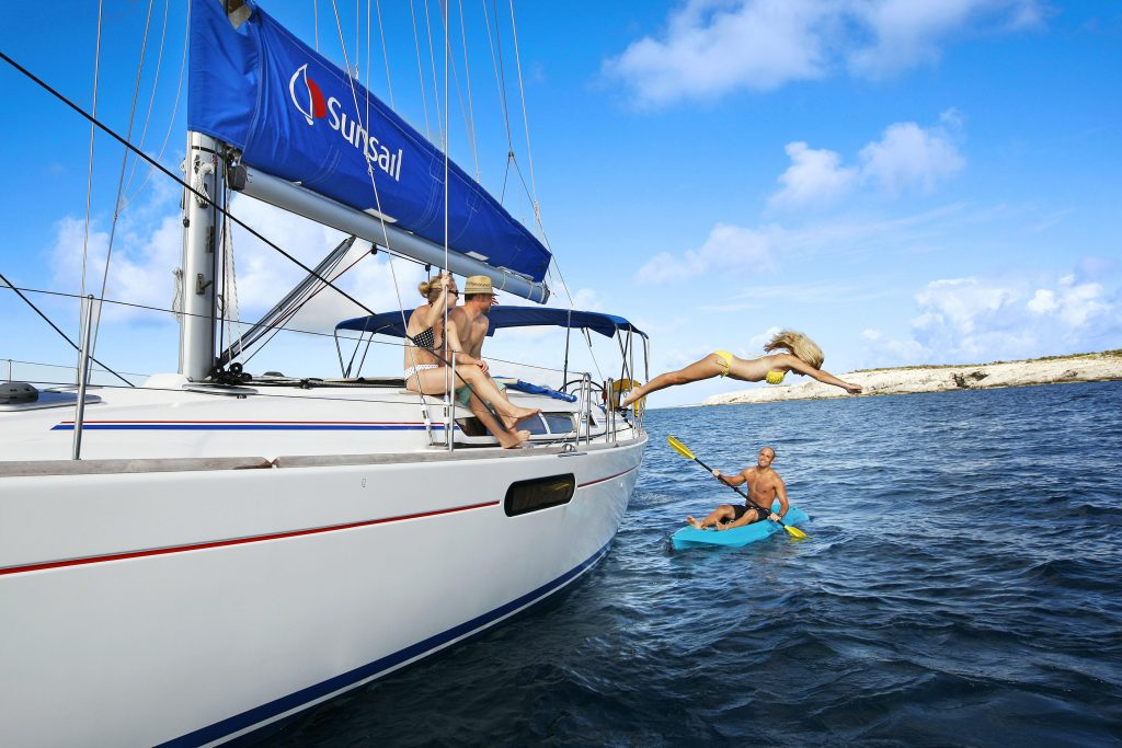 jumping of the yacht, boat, Sunsail, summer