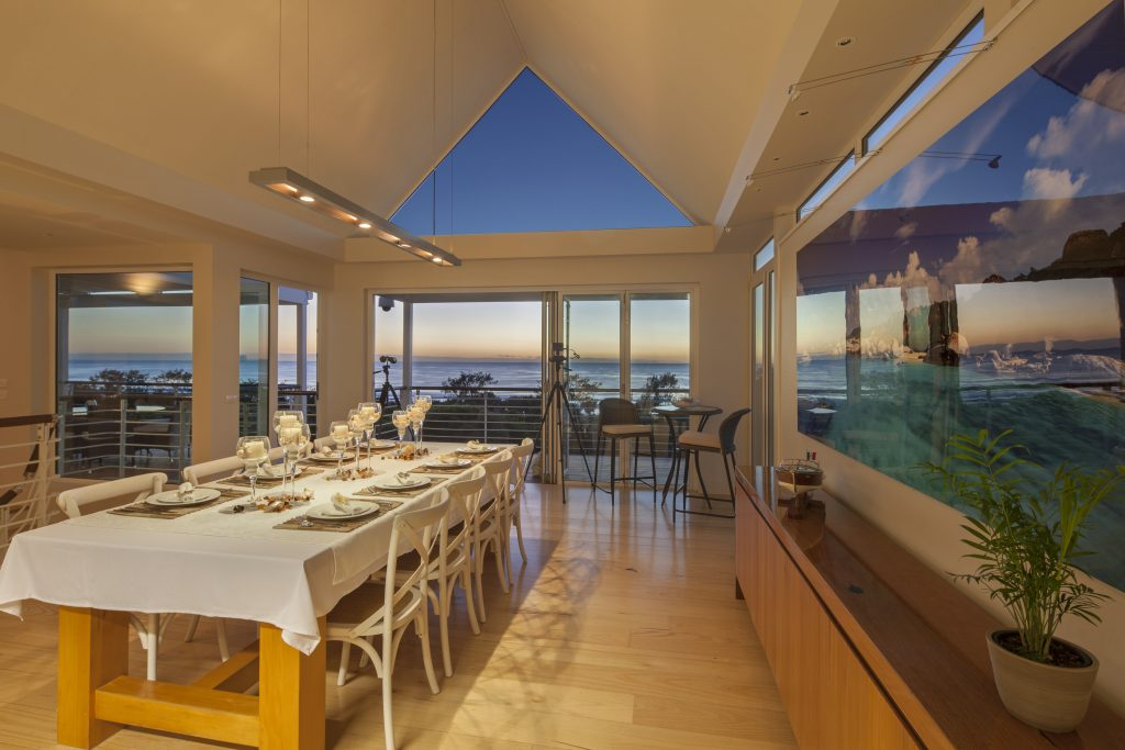 Dining room and ocean views at Mistere at Kingscliff